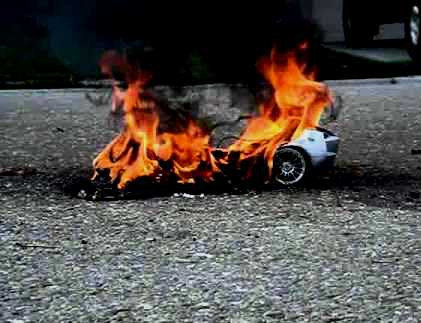 little car on fire