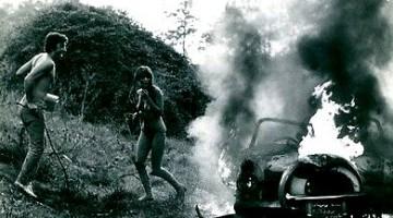 vintage car burning