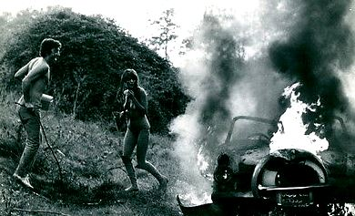 vintage car burning