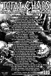 Total Chaos May europe tour 2015 poster