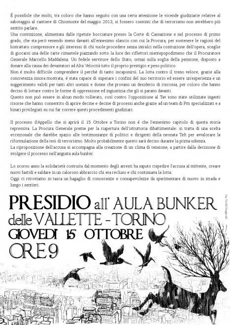 Presidio all'aula bunker delle Vallette @ Aula Bunker delle Vallette