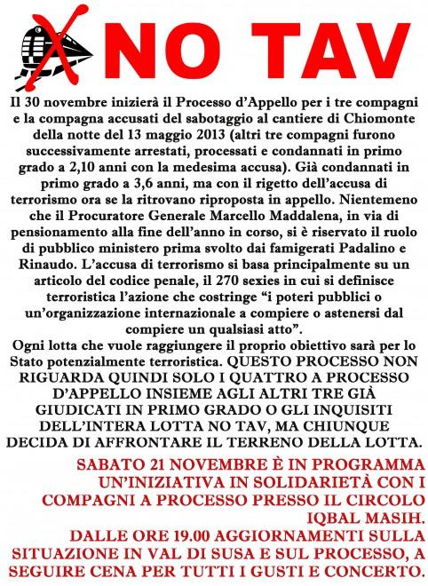 Bologna: Cena Benefit NoTav @ Circolo Iqbal Masih | Bologna | Emilia-Romagna | Italia