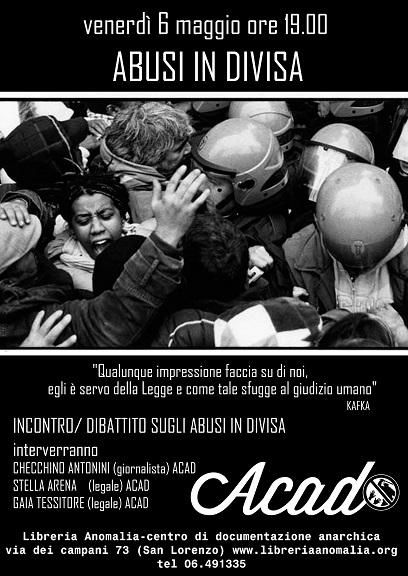 Incontro e dibattito insieme all'Associazione Contro gli Abusi in Divisa alla Libreria Anomalia a Roma @ Roma | Roma | Lazio | Italia