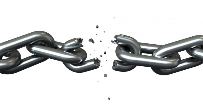3d render of brakeing chains over white background
