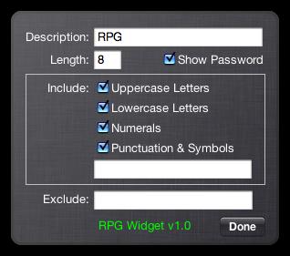 RPG (Widget Edition), A Random Password Generator Dashboard