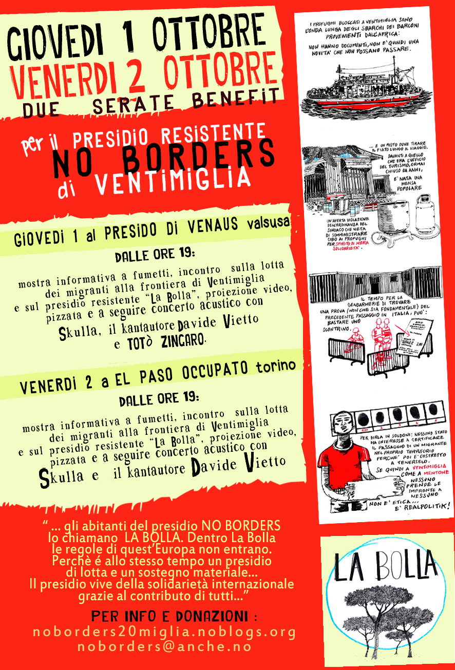 1 e 2 ottobre benefit presidio NO BORDERS